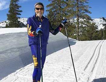 Nordic skiier enjoying a bluebird day