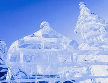 Ice sculpture at a snowfest event