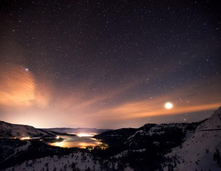 Starry night at Donner Lake in California