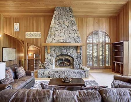Living room fireplace at a Lake Tahoe rental