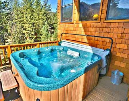 Private outdoor hot tub at a Lake Tahoe vacation rental