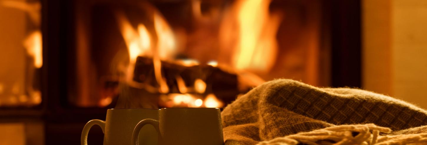 fireplace hot cocoa and blankets in lake tahoe