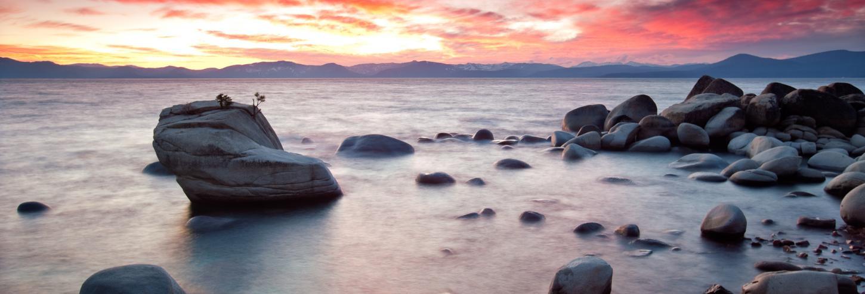 Beautiful pink sunset at Lake Tahoe