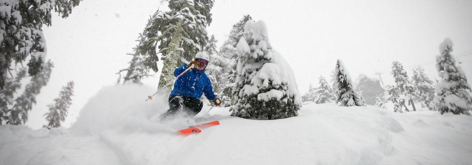 Skier shredding on the mountain in California