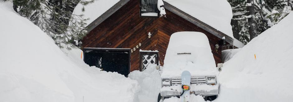 Tahoe vacation rental covered in snow during a blizzard