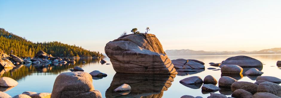 Rocks in the water in Lake Tahoe on the East Shore