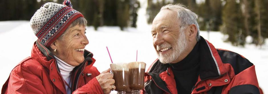 Couple in Lake Tahoe enjoying happy hour together