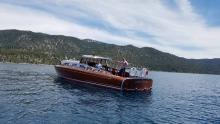 Thunderbird Wooden Boat on Lake Tahoe