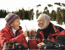Couple enjoying happy hour together in Tahoe