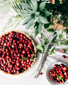 Cranberries and herbs for a Thanksgiving dinner