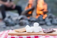 S'mores roasting over a fire in Tahoe, CA