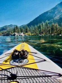 Paddle board floating on Lake Tahoe