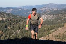 Mountain runner in the Spartan Race competition