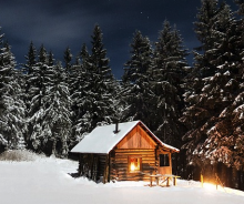 cabin winter starry night